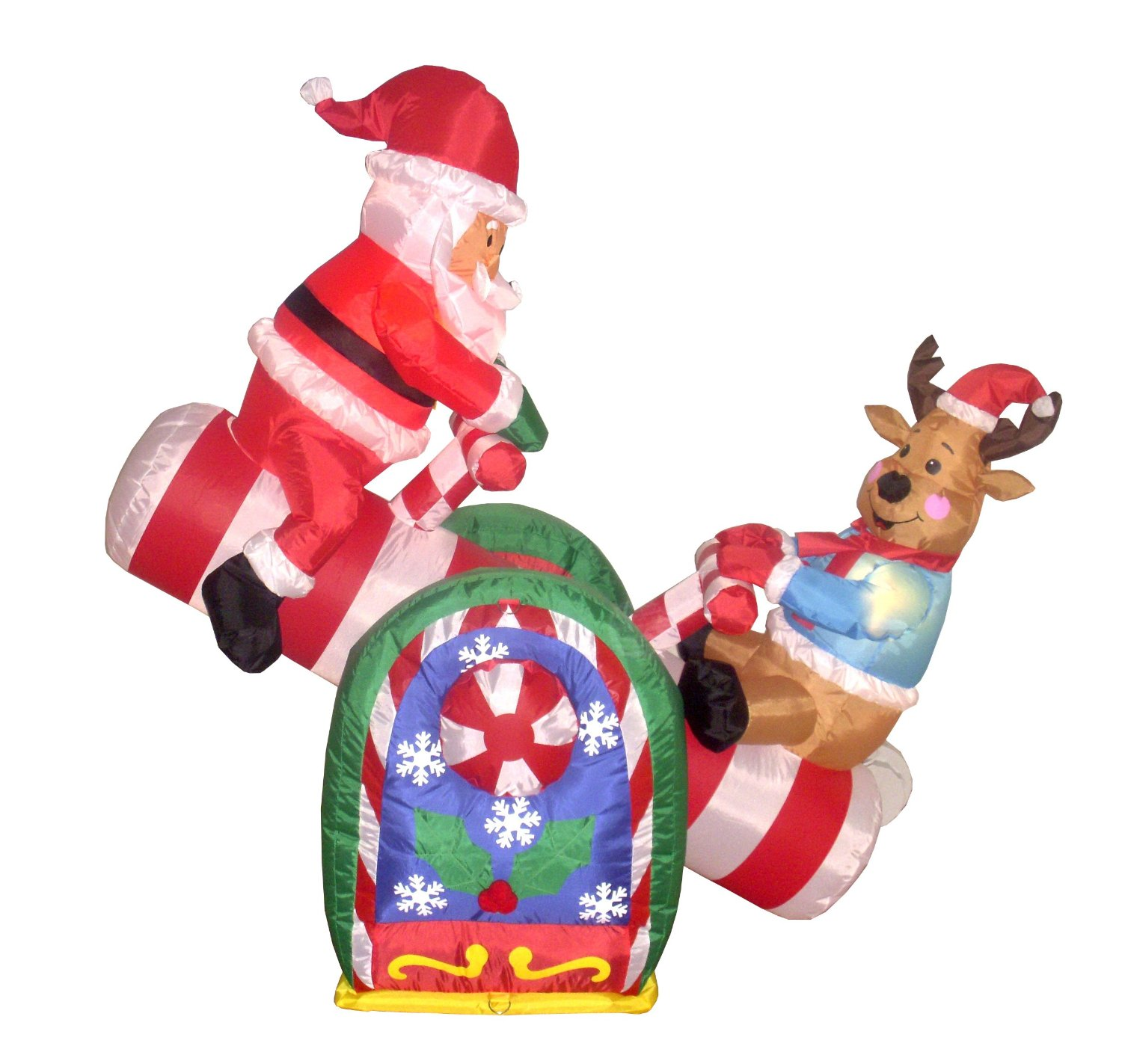 animated inflatable santa and reindeer on a teeter totter - Large Outdoor Animated Christmas Decorations